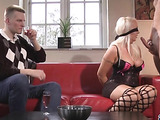 blindfolded and bound busty blonde gets force fed a hard cock
