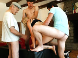 two guys share skinny blonde slut while grandpa watches