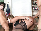 Fair-haired bitch in nylons licking small-titted brunette's twat while nailed in the classroom