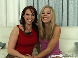 Busty brunette MILF in red vest and blonde teen chick talking about their love to threesome
