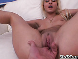 Chick with a nice clit and very trimmed bush gets her pussy fingered