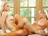 Knockout two blondes with pierced bellybutton and blue sleep mask knowing their way with a vagina next to a window
