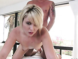 Flat-chested pale blonde spreads her legs and fucks