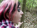 dirty girl sucks some cock in the woods before being pounded