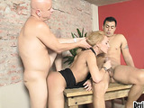 Two men are doing their best to meet needs of blond seductress