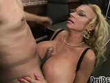 Slutty blond with gigantic tits likes to use them in special cock treatment