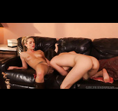 Dirty blonde in boots gets her pussy eaten by lesbian friend on the couch