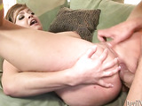 Hardcore young slut fucking hard with a lucky guy on the green round sofa