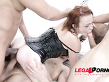 Short haired brunette in black leather corset gets drilled by dildos and huge cocks