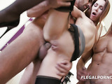 Smiling coed is wearing sexy stockings while getting fucked by a bunch of horny fuckers