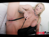 This busty blonde, with a shaved pussy,gets every hole stuffed