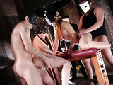 masked brunette and blonde sluts fucked hard in a costume party