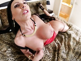 raven haired vixen shows her nice ass while sucking a bare cock