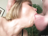 dirty mature slut enjoys blowing a young hard cock to orgasm