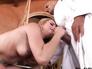 horny blonde drills her