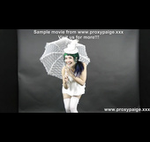 Lovely teen in white hat, nylons and umbrella gets her pooper prolapsed after self-fisting
