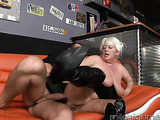 BBW blonde with big naturals is seen getting boned by a horny fucker
