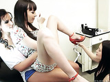 Brunette gets horny from watching two women play in the doctor's office.