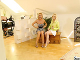 behind the scenes before the introduction of a hot blonde amateur