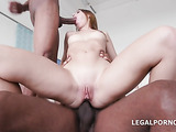 Blue-eyed blonde swallows big cumshots after DP