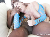 Glamour lady in blue mesh deepthroated a black dick