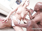 White lingerie cheerful blonde loves a big black cock