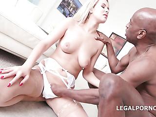 white lingerie cheerful blonde