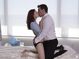 Stunning red haired bitch in blue grabs a nasty cock and sucks it deeply