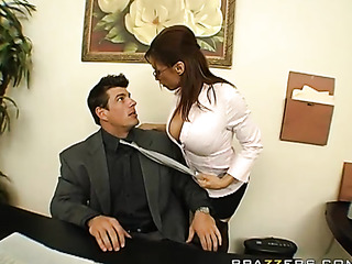 busty tanned secretary rides
