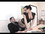 Brunette with big jugs nicely pounded in the office