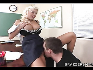 busty blonde teacher gets
