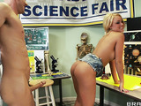 Long-legged young blonde and a horny teacher