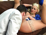 Blonde in blue dress is getting her anal fucked