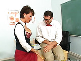 Clever student in bow tie reveals his sex skills in class