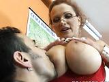 Busty stockinged teacher pays her collegue a sex visit