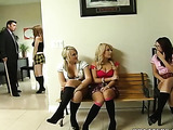 Tiny red skirt blonde schoolgirl gets punished