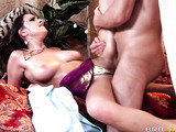 Middle Eastern get-up brunette gets fucked by a huge cock