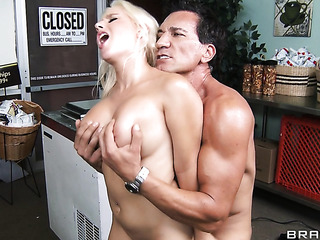 blonde gets really touchy-feely