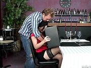 bartender nailed busty black-haired