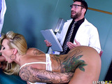 Two medical experts fucking a stacked blonde