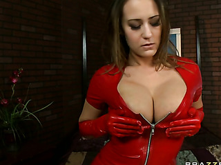 red latex wearing brunette