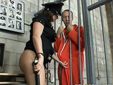 Two prisoners are banging a busty woman in the uniform