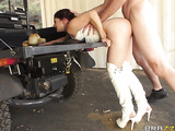 Cowboy hat brunette gets fucked by a massive cock