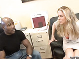 Mature blonde with huge hooters gets her pussy licked and ass hole hammered hard on the green couch before being facialized