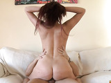 Big tits redhead shows her tits and deep throats in the bedroom.