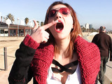 Redhead gets picked up and fucked for a big load in her mouth.
