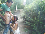 Big tits brunette sucks cock in a park and gets fucked after.