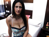 Perky brunette gets taken to a hotel room and rides a cock.