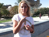 Pretty blonde teases publicly and is taken back to get stuffed.
