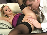 Jerking and sucking, this blonde, on her knees, gags on his fat dick